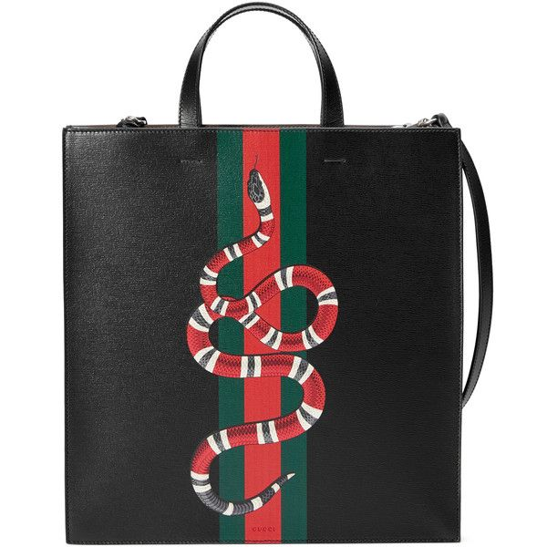 Gucci Web And Kingsnake Leather Tote ($2,100) ❤ liked on Polyvore featuring men's fashion, men's bags, black, mens pouch bag, mens leather bags, mens leather tote bag, gucci mens bag and men's tote bag