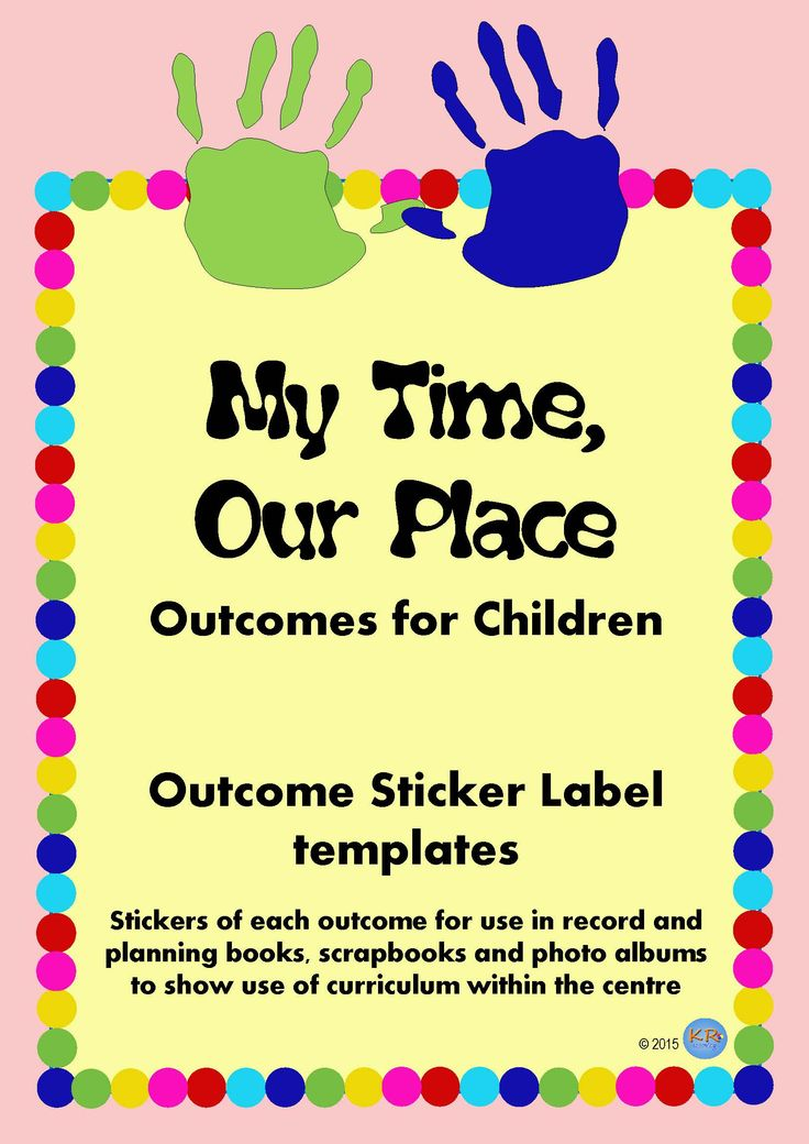 My Time, Our Place Outcome Sticker Labels for OSHC, OOSH, Outside School Care and School Aged Care for printing and sticking onto work to show your National Quality Standards work and reporting to parents the child's engagement with outcomes.