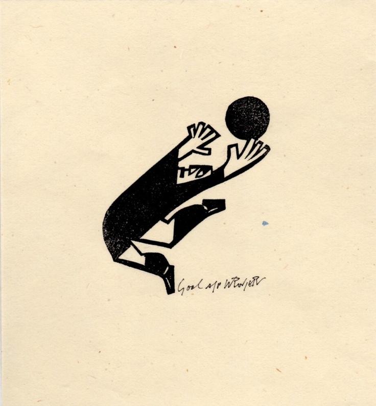 Goal  Willie Rodger  Lino cut print
