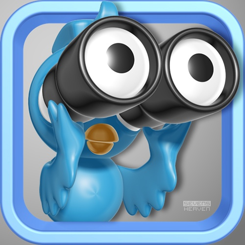 Design of a 3D bird and icon for the BirdEye iPad and iPhone Twitter application, by http://sevensheaven.nl