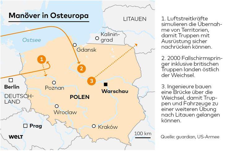 """Bei der Militärübung """"Anakonda"""" in Osteuropa durchqueren die Truppen weitläufig Polen"""
