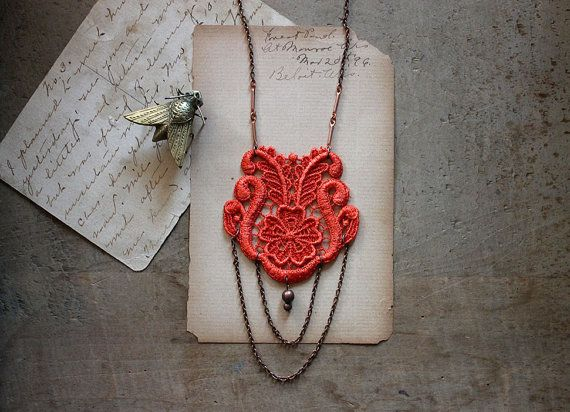 lace necklace - LAUREN- tangerine- long necklace - boho - gift - valentines gift - bright - vintage style
