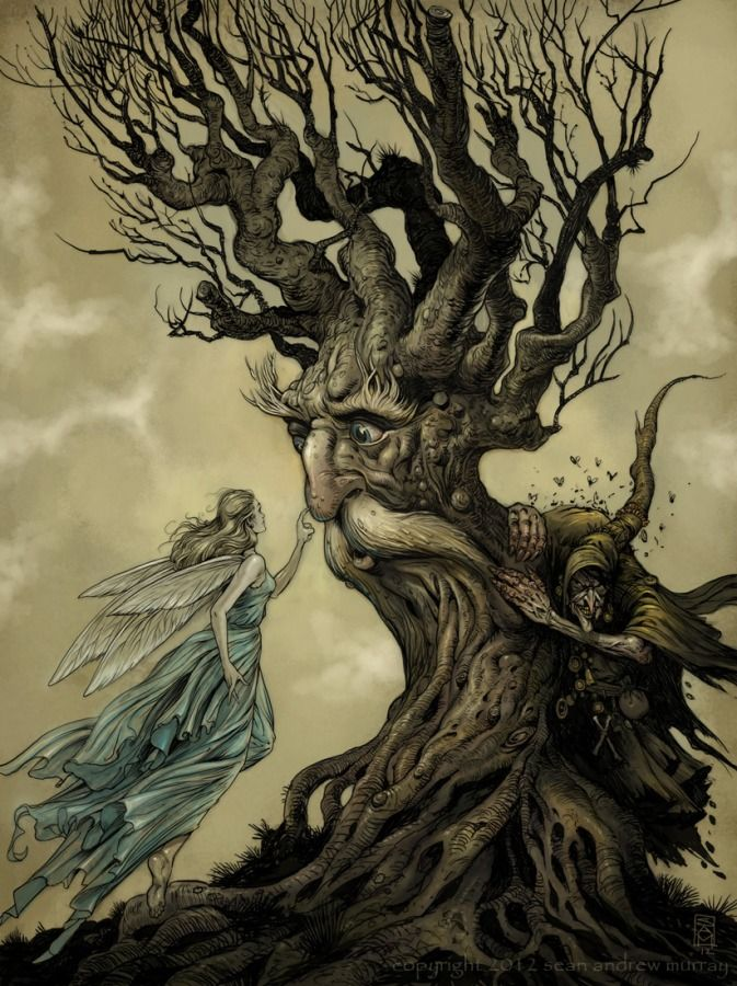 A kind young fairy girl pays a visit to an elderly tree. Watch out for the evil being hiding behind it!