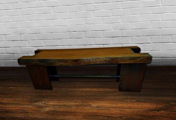 Banca din lemn si profile otel