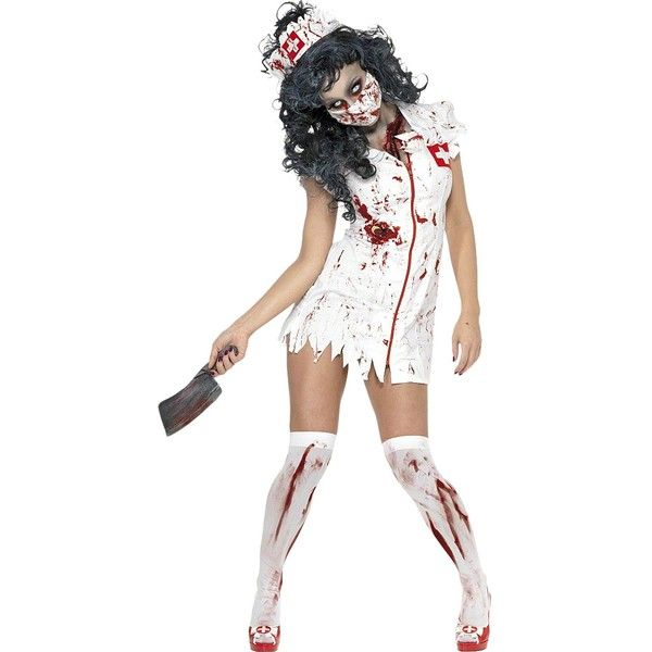 Halloween Zombie Nurse + Bloody Stockings Adult Costume ($43) ❤ liked on Polyvore featuring costumes, adult women halloween costumes, party halloween costumes, adult costumes, adult zombie costume and ladies costumes