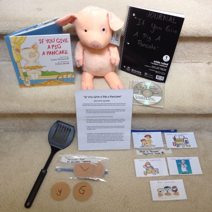 """Take home literacy bag for """"If You Give A Pig A Pancake"""". Includes the Kohls Cares book and animal, directions for activities, CD, journal, pancake flipping game, and sequence cards."""