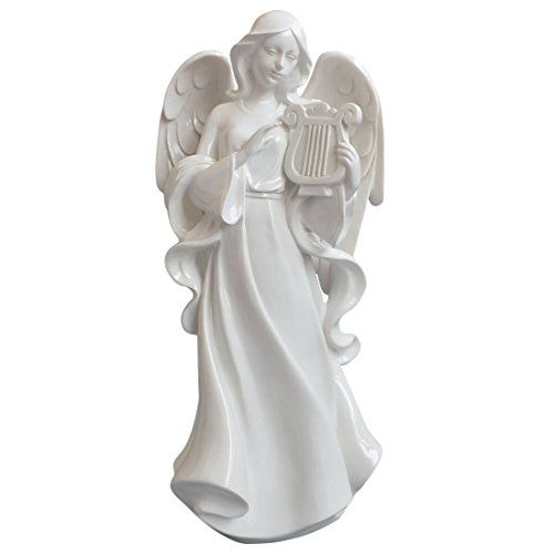 Giftgarden® Statua Sacra a Forma di Angelo con Lira Bianc…