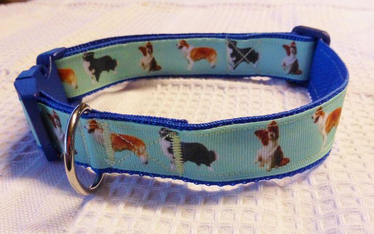 Border collie custom print ribbon collar on blue webbing $20