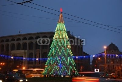 Christmas tree in the central area of Bucharest