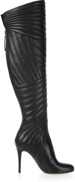 Valentino Stitched Leather Knee Boots