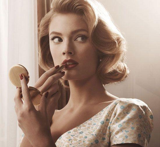 Constance Jablonski 60's inspired hair and makeup for Estée Lauder inspired by Mad Men