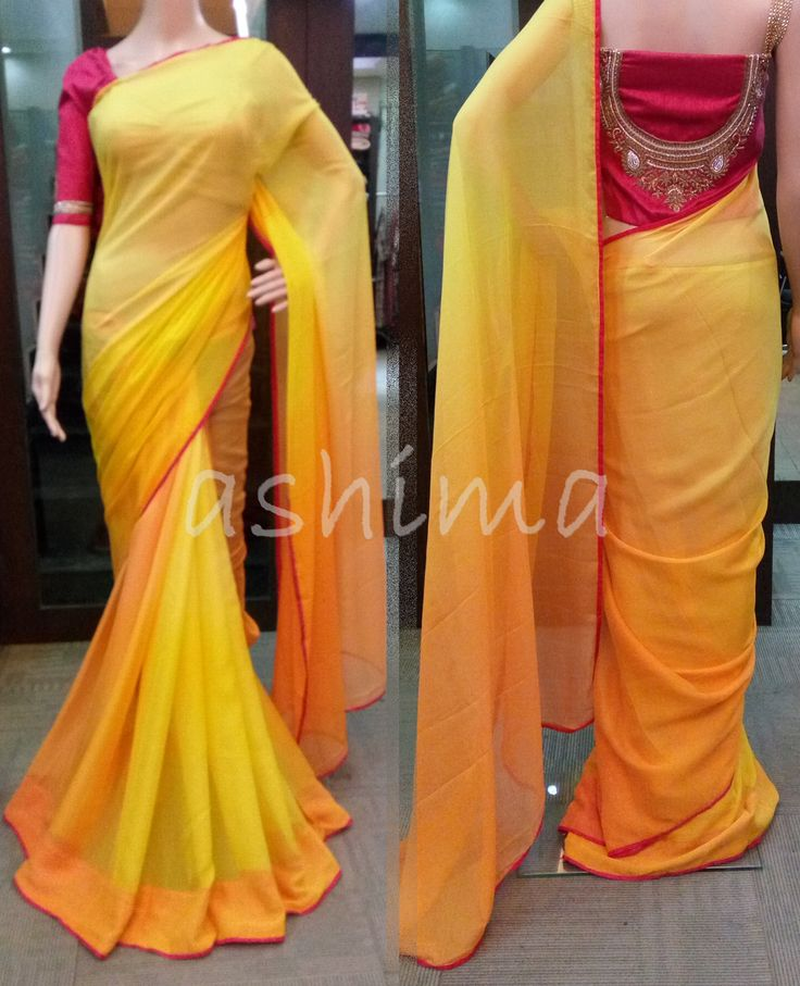 Code:2305162 - Shaded Chiffon saree with Hand Embroidered Blouse, Price INR:10890/-
