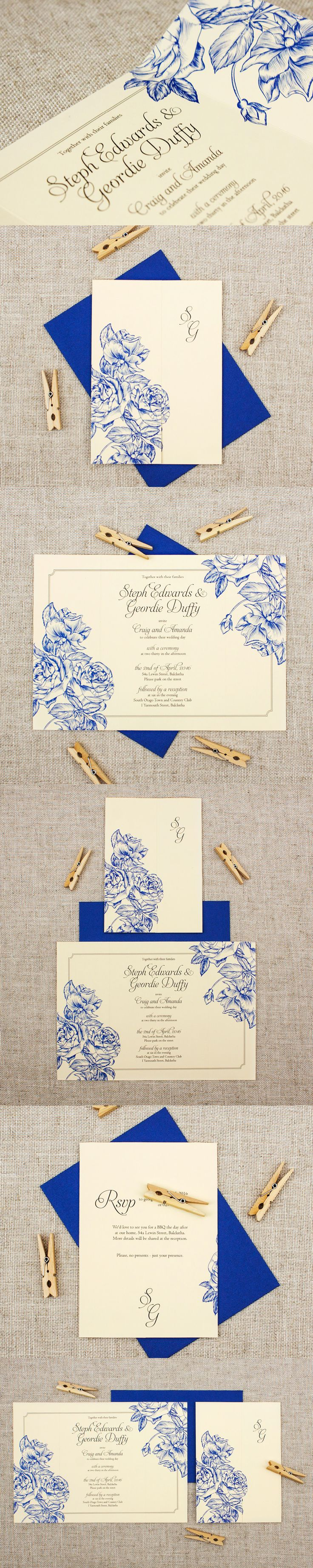 Blue Cream Wedding Invitation With Beautiful Etched Roses