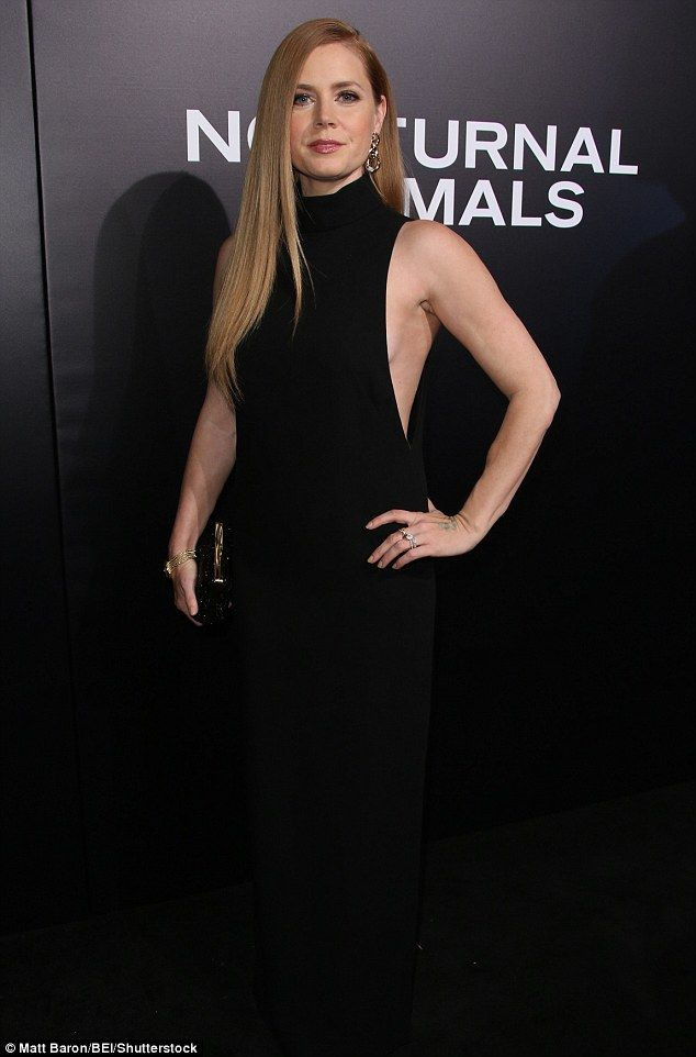 Show-stopping: Amy Adams, 42, looked incredibly elegant in a sleek and chic black maxi dress as she arrived at a screening for her new film Nocturnal Animals in Los Angeles on Friday