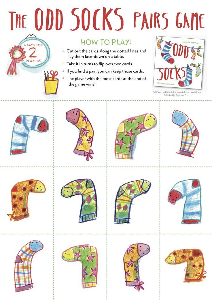 Socks matching pairs game - from ODD SOCKS, Michelle Robinson & Rebecca Ashdown, Andersen Press 2016