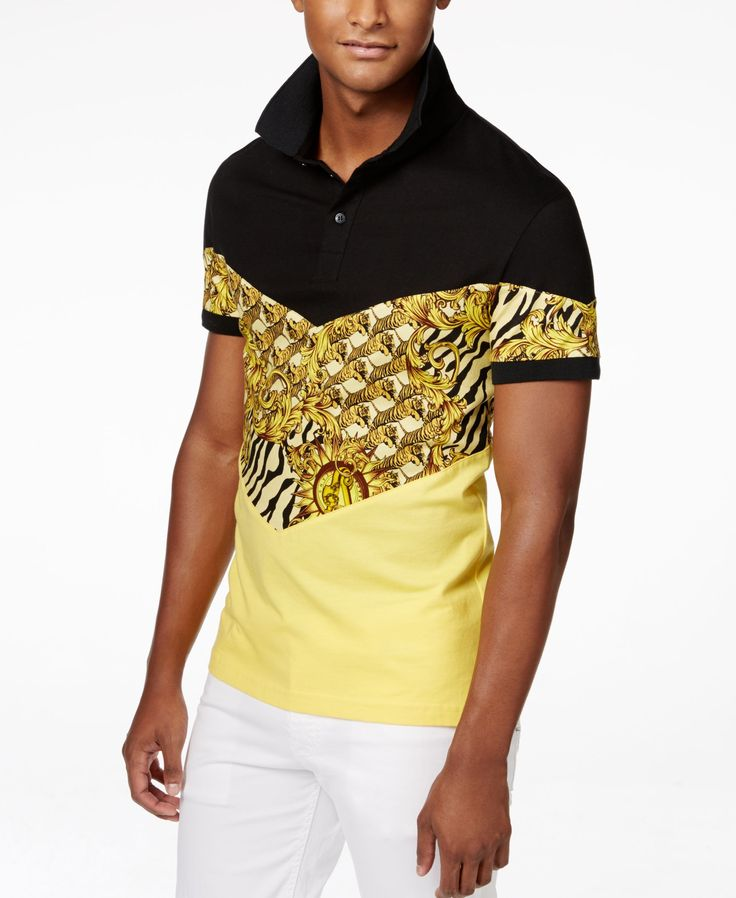 Versace Men's Geometric Tiger-Print Polo