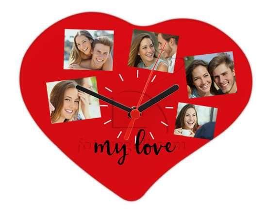 Orologio cuore con grafica rossa collage
