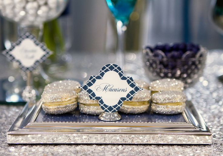 Glitter Macarons   Wedding Dessert   Petite Dessert   Wedding Dessert Buffet   Wedding Cake   Bling   Navy, Silver and White   Styling, Paperie and Tablecloth by Memories are Sweet   Cake and Desserts by Velvetier