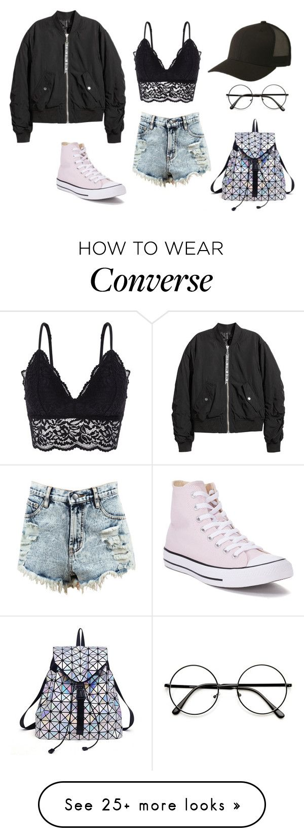 """Simple Look"" by michellekayla on Polyvore featuring Oysho, Converse and Flexfit"
