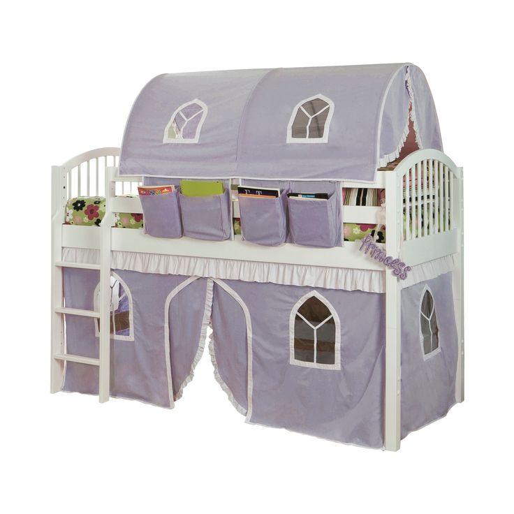 74 Junior Loft Bed Twin Hardwood Lilac (Purple) - Alaterre Furniture