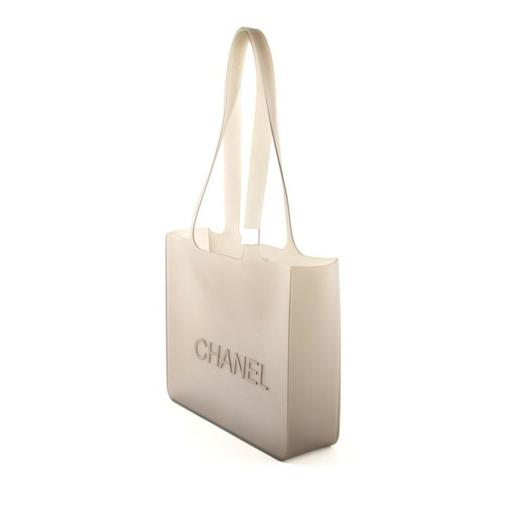 Authentic Chanel Grey Rubber Tote Bag at THEBROWNPAPERBAG.NET #authentic #vintage #parisian #luxury #chanel