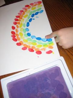 Regenboog van vingerverf