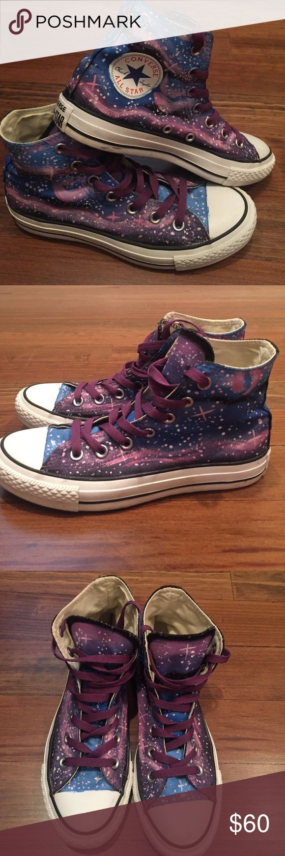Custom hand-painted galaxy converse🌌 Super cute, custom made galaxy converse. Worn twice-- ex boyfriend got them for me but they were a half size too small! Take them off my hands :) Converse Shoes Sneakers