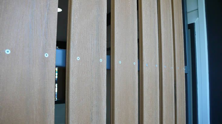 Sahara; waterfront screen for public amenities #ModWood #WideDecking #Screen #Fence