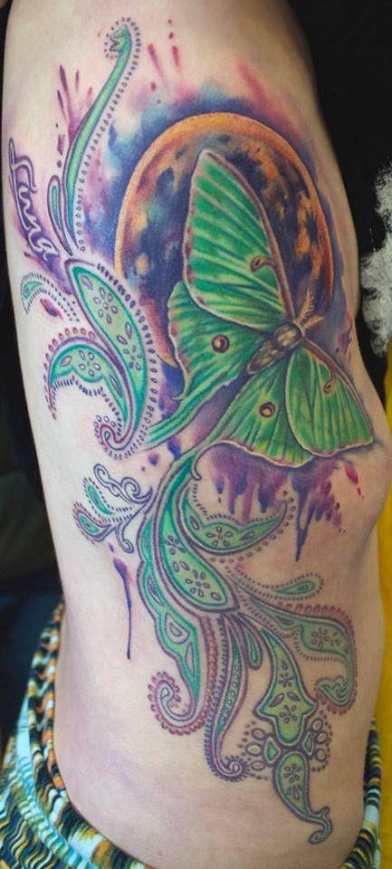 Moon, Luna Moth, and Paisley Tattoo