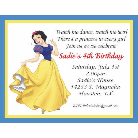 4th Birthday Invitation Messages Snow White Wording