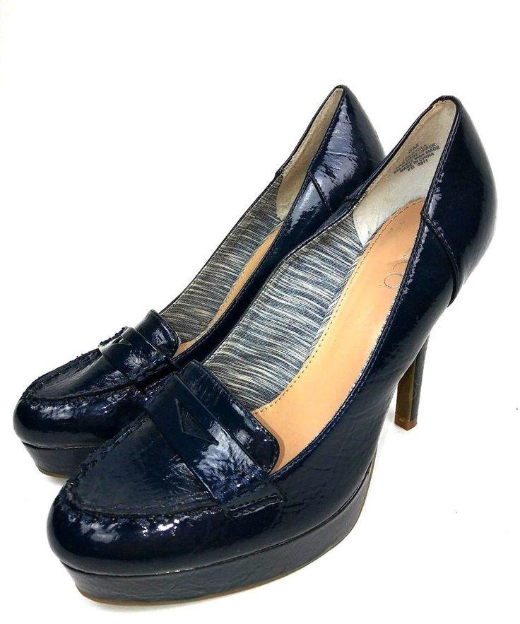 Nine & Co Women's Penny Loafer High Heels Size 8 Navy Blue ...