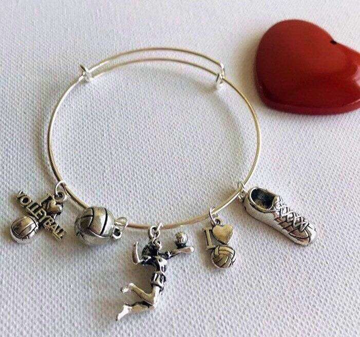 Volleyball Charm Bracelet For Girls Bangle For Volleyball Player Expandable Stackable Bracelet Handmade Jewelry Unique Gift For Her Charm Bracelets For Girls Jewelry Unique Gifts For Her