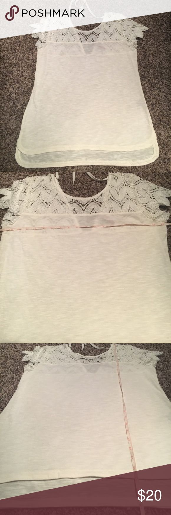 Laced sleeve Love Scarlett tee Gently worn, excellent condition, no flaws, smoke free. 🛍Open to reasonable offers ONLY please! I will not consider unreasonable offers that are half the asking price. No trades. No Modeling. And please keep in mind Poshmark sets the $6.49 flat rate shipping. Thank you!☺ Love Scarlett Tops Tees - Short Sleeve