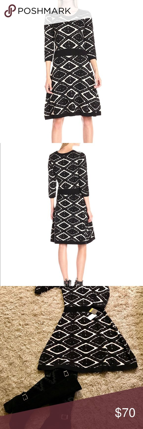 Taylor Diamond Jacquard Fit & Flare Sweater Dress Taylor Dresses are the stylish & comfortable! New Sweater Dress with dimensional Diamond Pattern for added surface detail is a great dress for work and fall into night out. Perfect for early fall thru the winter. Fit & Flare makes it a perfect fit. 78% Rayon, 22% Polyester. Taylor Dresses Midi