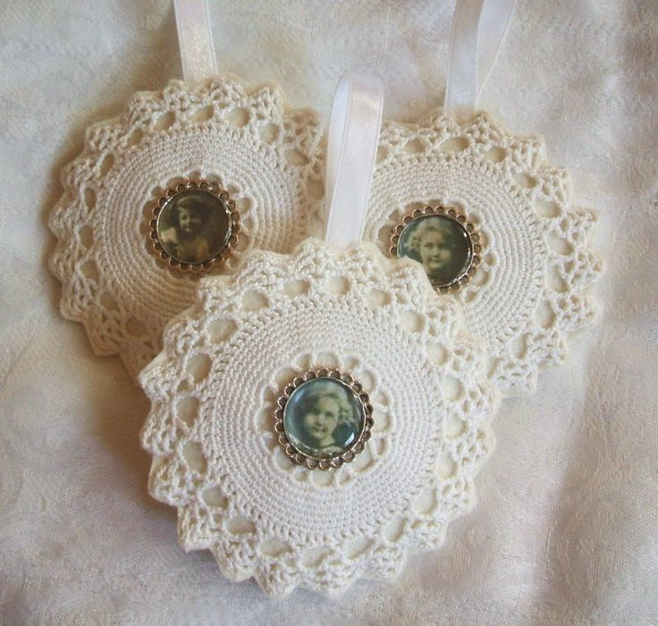 Lavander pillows with lace and vintage medallion