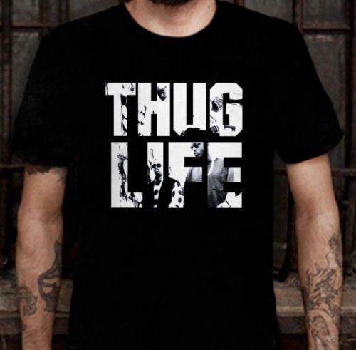 New THUG LIFE TUPAC SHAKUR SAKUR 2PAC Album T-shirt Men Rock Band Hip Hop Tops Tees  Short Sleeve T Shirt Euro Size S-3XL