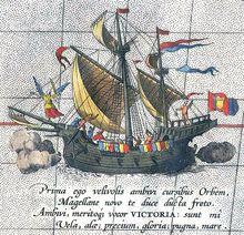 La Victoria sur une carte d'Ortelius de la fin du XVIe siecle: seul navire à réaliser la circumnavigation sous la direction de Magellan tué aux Philippines qui ne pu complété ce tour du monde. Le bateau fut ramené par Juan Sebastian Elcano, l'un des cinq capitaines de l'expédition en 1522.  Wikipédia