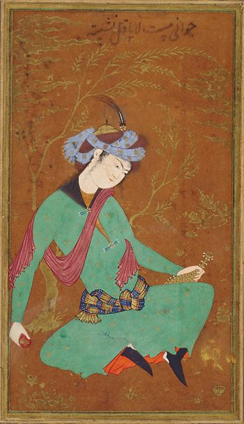 Seated youth in green robe ca. 1600-1610 Safavid period Opaque watercolor and gold on paper H: 34.6 W: 21.9 cm Isfahan, Iran Purchase--Smithsonian Unrestricted Trust Funds, Smithsonian Collections Acquisition Program, and Dr. Arthur M. Sackler S1986.306 Freer-Sackler | The Smithsonian's Museums of Asian Art