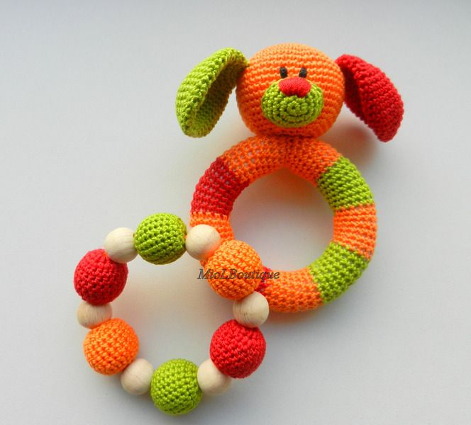 Dog Baby Toy Rattle Baby teether Set of 2 from MioLBoutique by DaWanda.com