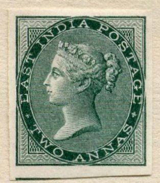 1856 Imprimatur- 2 annas Bottle Green - Postage stamps and postal history of India - Wikipedia, the free encyclopedia