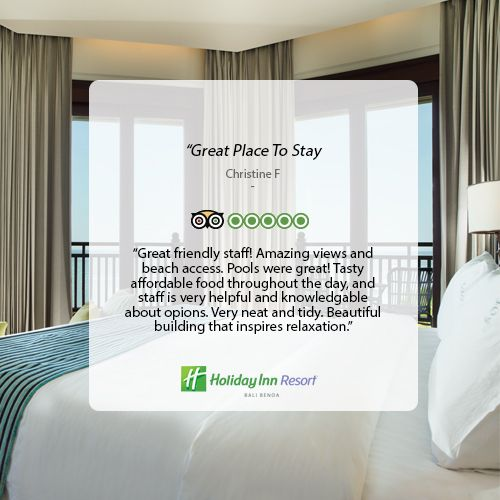 Thanks for the review. We are very happy to find our resort is a great place to stay during your Bali getaway. #holidayinn #holidayinnbalibenoa #resortbali #bali #hotelbali #travelling #travel #holiday #explorebali #balieveryday #bestvacation #vacation #balipromotion #2016 #igdaily #ihg #instagood #photooftheday #fun #love #beautiful #nice #beach #nusadua #tripadvisor