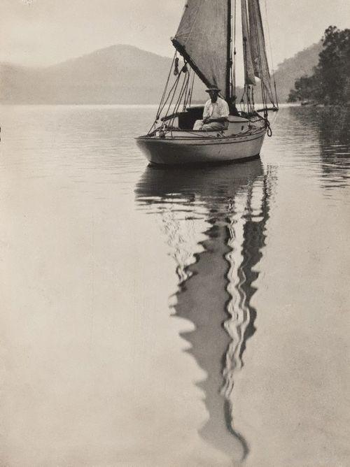 George Malteby on yacht, Hawkesbury River, c. 1909      Norman C. Deck