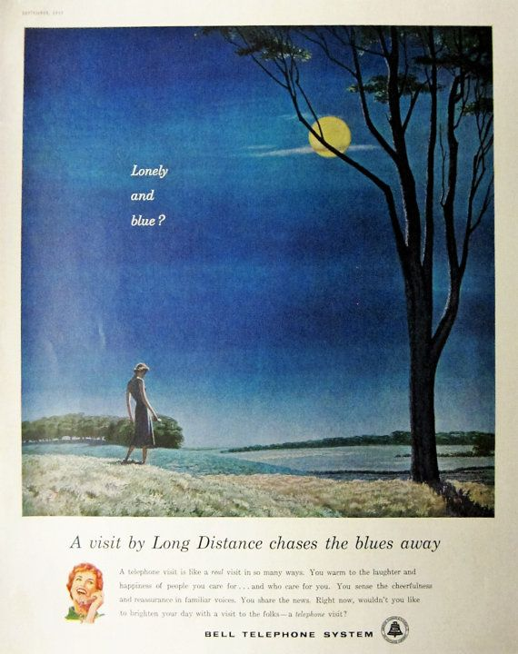 """1959 Bell Telephone Systems Vintage Advertisement """"Lonely and Blue"""" Office Wall Art Bedroom Decor Original Magazine Print Ad Phone Wall Art"""