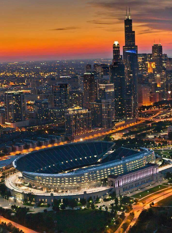 Soldier Field and skyline aerial view, Chicago Helicopter Experience (Chicago Pin of the Day, 2/16/2016).