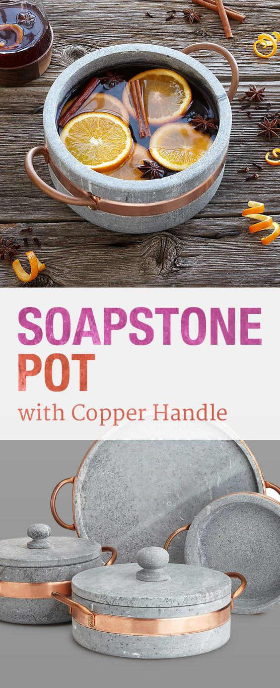 Go from oven to table in Old World style with this soapstone design, highlighted by lustrous copper detail.