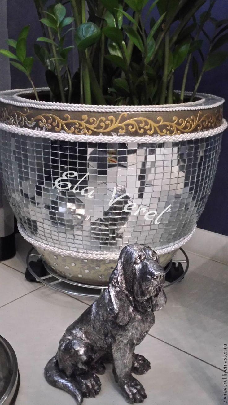 Купить Мозаичное напольное кашпо '' АРТ - ДЕКО '' - серебряный, красивое кашпо, мазаика
