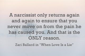 A narcissist always returns to an ex-lover to ensure that his narcissistic supply still pines for him and that she never moves on from the pain he has caused.