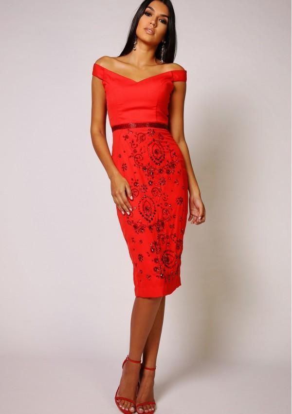 2c743dbf076 Virgos Lounge Red Petra Sweetheart Midi Embellished Pencil Party Dress 6 to  16  VirgosLounge  BallgownPromDress  SpecialOccasion
