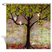 Owl Couple in Tree with Moon Shower Curtain