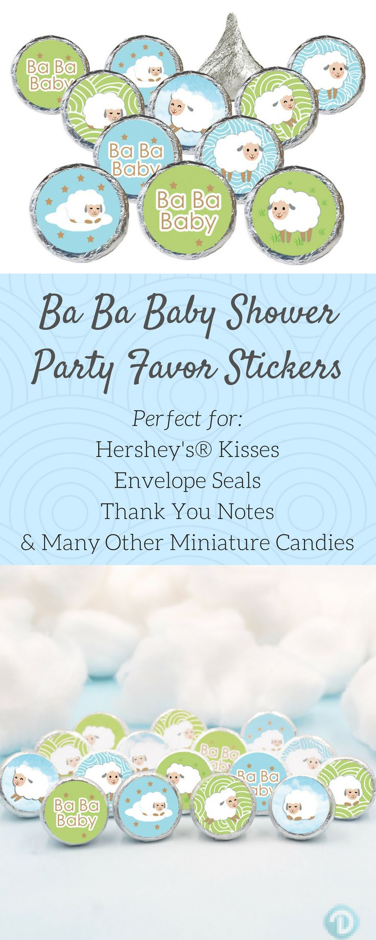 These blue, green, and gold Little Lamb Baby Shower Favor Stickers create that perfect finishing touch to your boy, girl, or gender neutral baby shower.